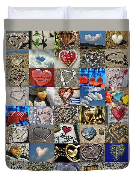 Valentine - Hearts And Memories   Duvet Cover by Daliana Pacuraru