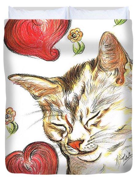 Valentine Cat Duvet Cover by Teresa White