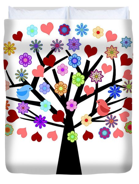 Valentines Day Tree With Love Birds Hearts Flowers Duvet Cover