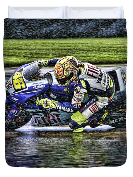 Valentino Rossi At Indy Duvet Cover