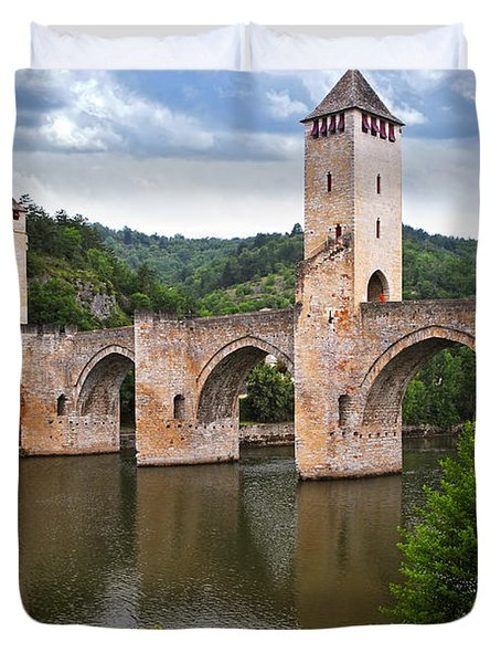 Valentre Bridge In Cahors France Duvet Cover by Elena Elisseeva