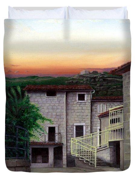 Duvet Cover featuring the painting Vallecchia De Monte Calvo by Albert Puskaric