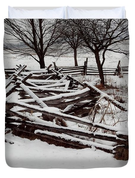 Duvet Cover featuring the photograph Valley Forge Snow by Michael Porchik