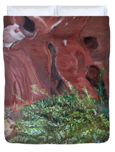 Duvet Cover featuring the painting Valley Of Fire State Park by Linda Feinberg