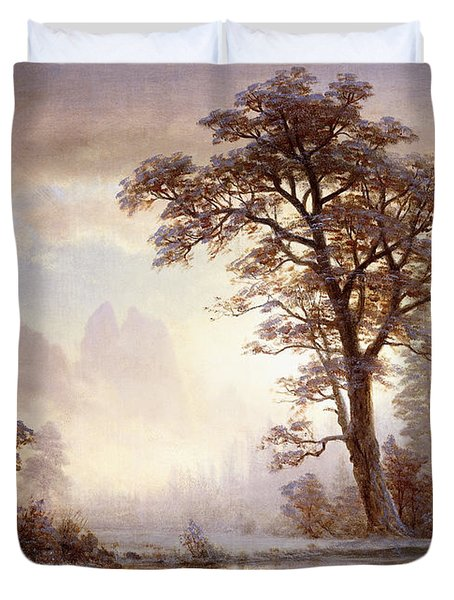 Valley Of The Yosemite Snow Fall Duvet Cover by Albert Bierstadt