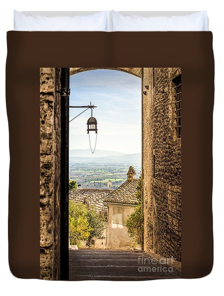 Valley Outside Assisi Duvet Cover
