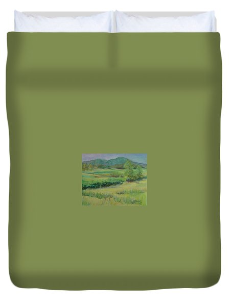 Valley Ranch Rural Western Landscape Painting Oregon Art  Duvet Cover