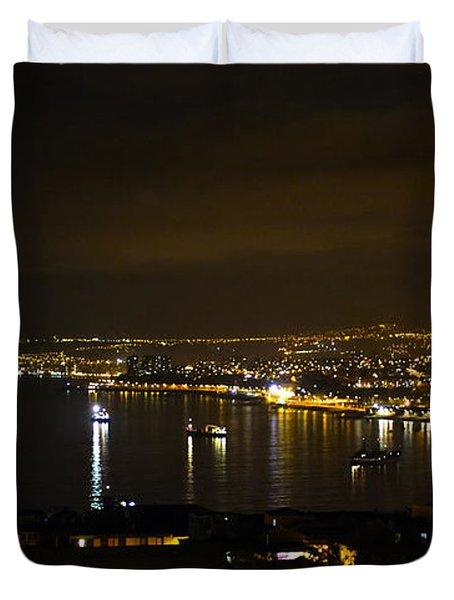 Valparaiso Harbor At Night Duvet Cover by Kurt Van Wagner