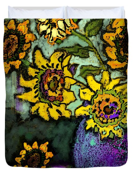 Van Gogh Sunflowers Cover Duvet Cover by Carol Jacobs