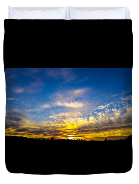 Duvet Cover featuring the photograph Van Gogh Sunset by Jean Haynes