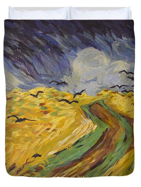 Van Gogh Wheat Field With Crows Copy Duvet Cover by Avonelle Kelsey