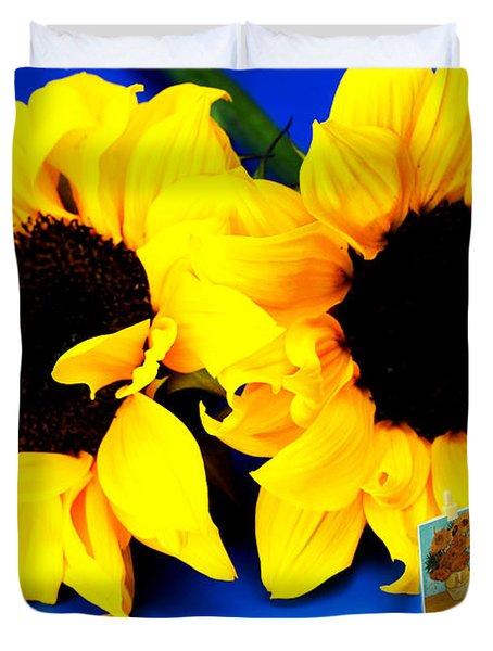 Van Gogh's Sunflower Miniature Art Duvet Cover by Paul Ge