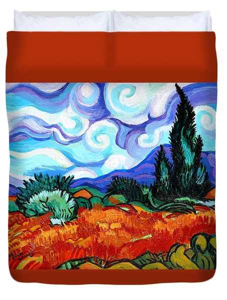 Van Goghs Wheat Field With Cypress Duvet Cover by Genevieve Esson