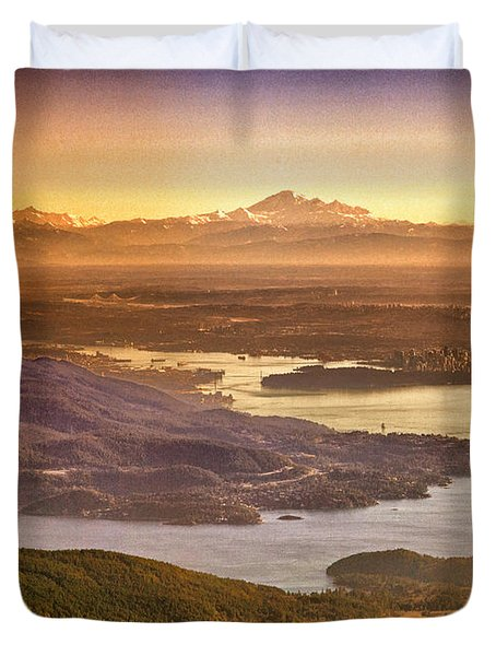 Vancouver And Mt Baker Aerial View Duvet Cover by Eti Reid