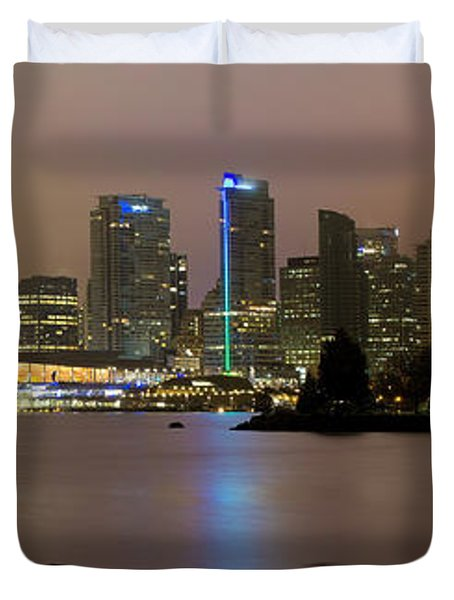 Vancouver Bc City Skyline At Night Duvet Cover by David Gn