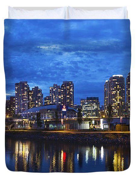 Vancouver Bc City Skyline With Bc Place At Blue Hour Duvet Cover by David Gn