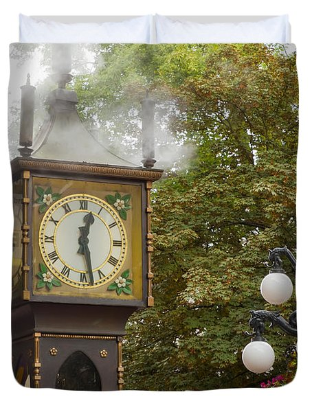 Duvet Cover featuring the photograph Vancouver Bc Historic Gastown Steam Clock by JPLDesigns