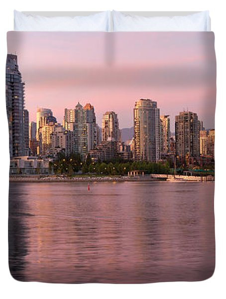 Duvet Cover featuring the photograph Vancouver Bc Skyline Along False Creek At Dusk by JPLDesigns
