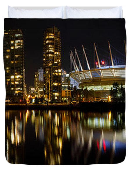 Duvet Cover featuring the photograph Vancouver Bc Skyline Along False Creek At Night by JPLDesigns