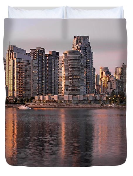 Duvet Cover featuring the photograph Vancouver Bc Waterfront Condominiums by JPLDesigns