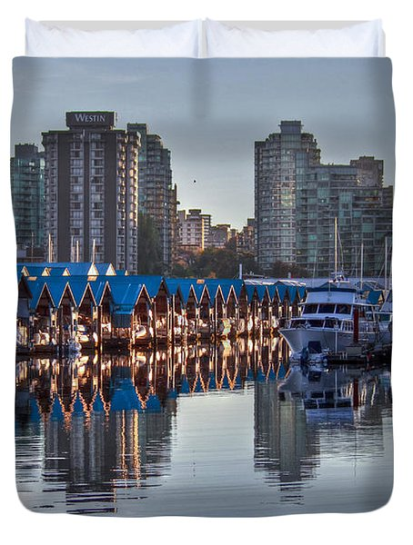 Vancouver Boat Reflections Duvet Cover by Eti Reid