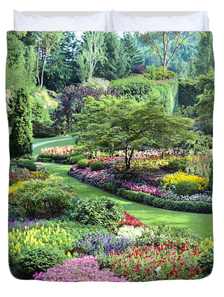 Vancouver Butchart Sunken Gardens Beautiful Flowers No People Panorama Duvet Cover by David Zanzinger