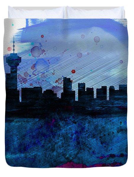 Vancouver Watercolor Skyline Duvet Cover