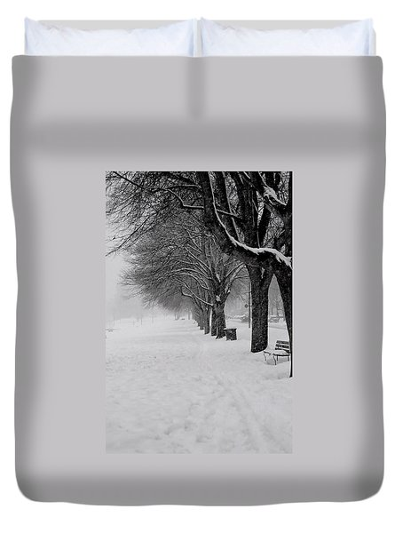 Vancouver Winter Trees Duvet Cover