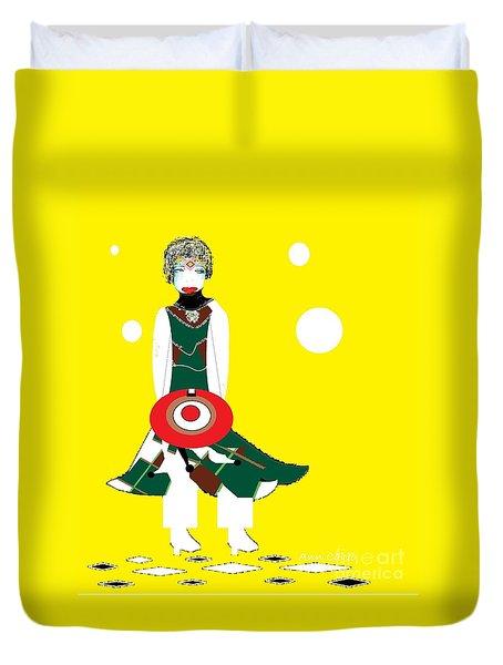Duvet Cover featuring the digital art Vanguard Girl by Ann Calvo