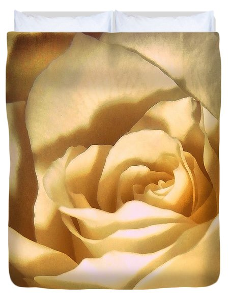 Duvet Cover featuring the photograph Vanilla Rose  by Janine Riley