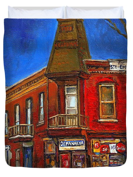 Vanishing Montreal Landmark Depanneur Ste. Emilie And Bourget Montreal Painting By Carole Spandau  Duvet Cover by Carole Spandau