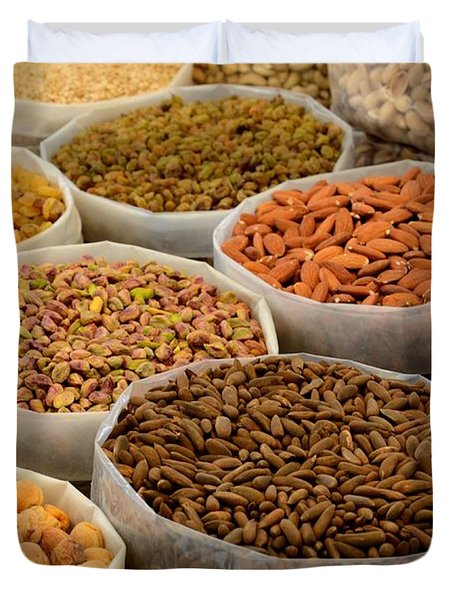 Variety Of Raw Nuts For Sale At Outdoor Street Market Karachi Pakistan Duvet Cover