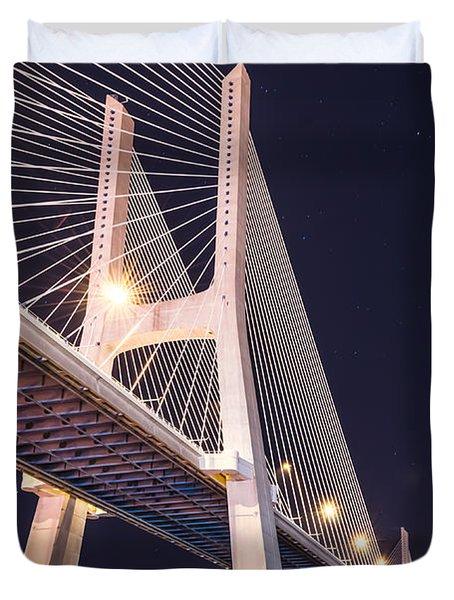 Vasco Da Gama Bridge At Night Duvet Cover