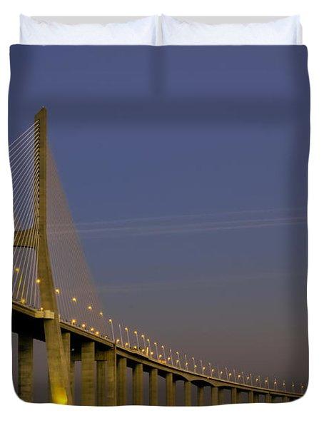 Vasco Da Gama Bridge In The Moonlight Duvet Cover