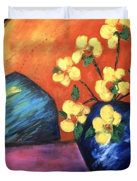 Duvet Cover featuring the painting Vase by Lynn Buettner