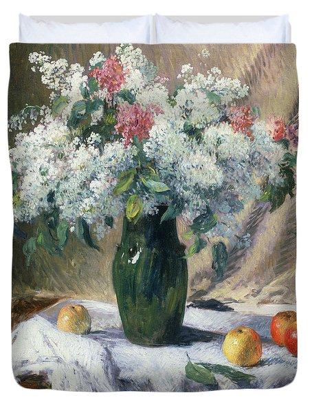 Vase Of Flowers Duvet Cover by Henri Lerolle