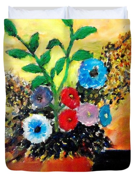 Vase Of Flowers Duvet Cover by Mauro Beniamino Muggianu