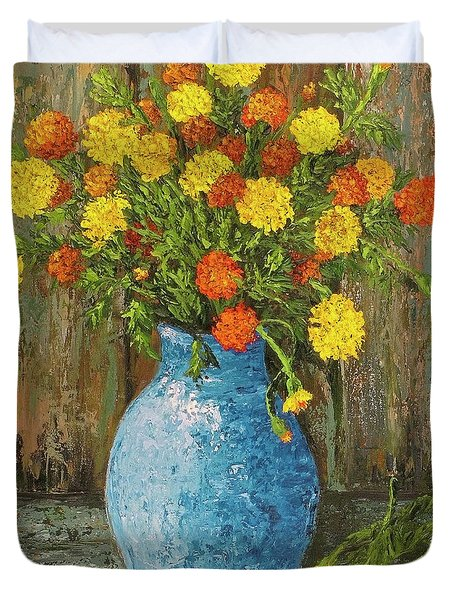 Vase Of Marigolds Duvet Cover