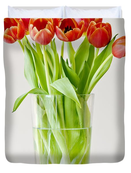 Vase Of Tulips Duvet Cover by Dee Cresswell