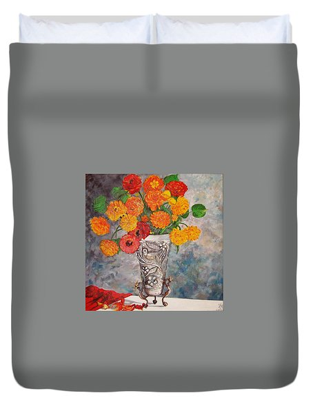 Duvet Cover featuring the painting Vase With Bird by Nina Mitkova