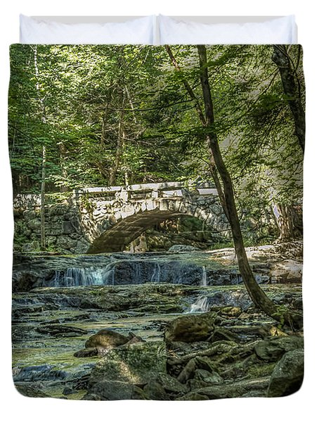 Duvet Cover featuring the photograph Vaughan Woods Bridge by Jane Luxton