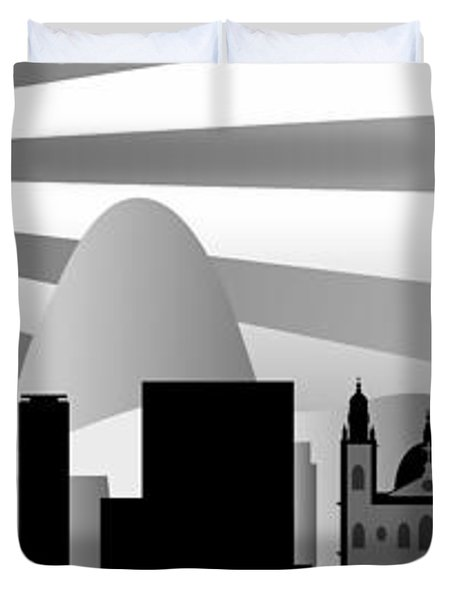 vector Rio skyline with ball Duvet Cover by Michal Boubin