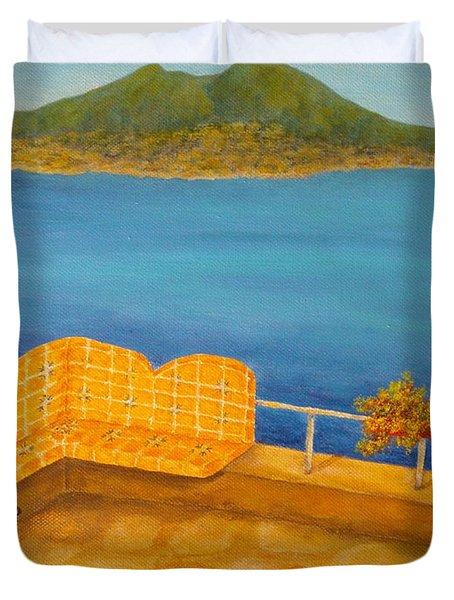 Veduta Di Vesuvio Duvet Cover by Pamela Allegretto