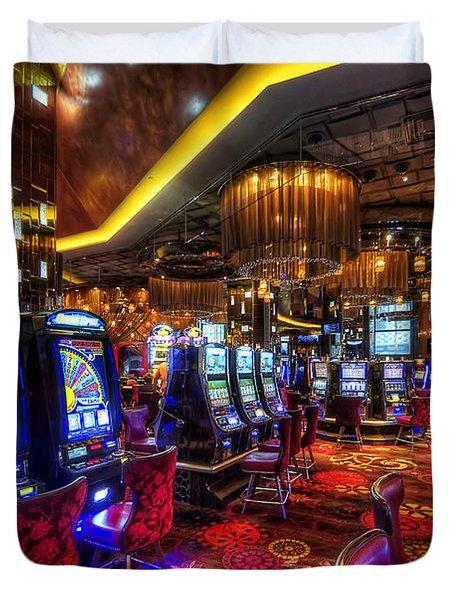 Vegas Slot Machines Duvet Cover by Yhun Suarez