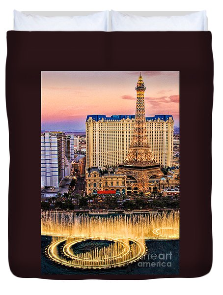 Vegas Water Show Duvet Cover by Tammy Espino