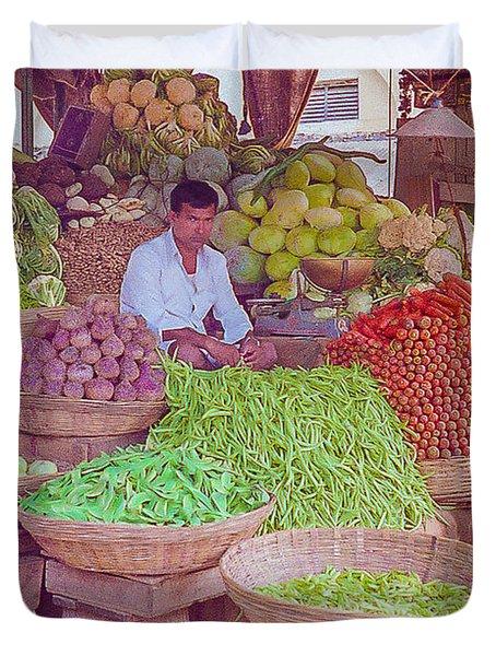 Vegetable Seller In Indian Market Duvet Cover