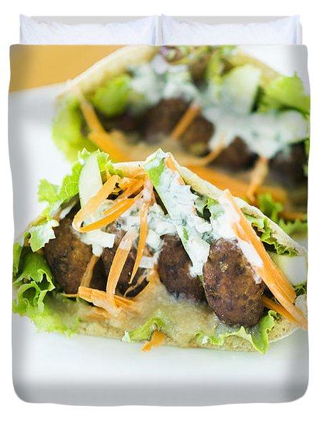 Vegetarian Falafel In Pita Bread Sandwich Duvet Cover