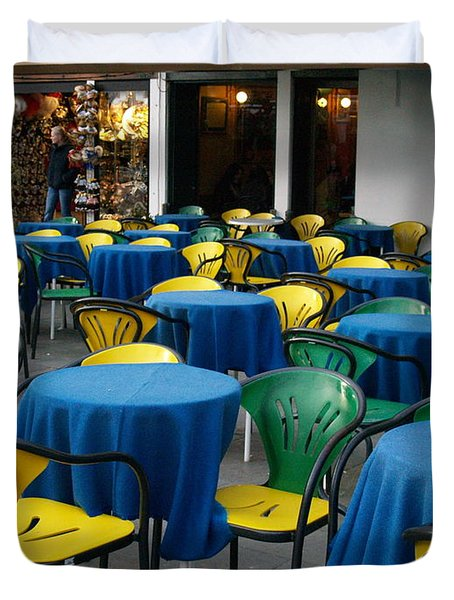 Duvet Cover featuring the photograph Venetian Cafe by Robin Maria Pedrero