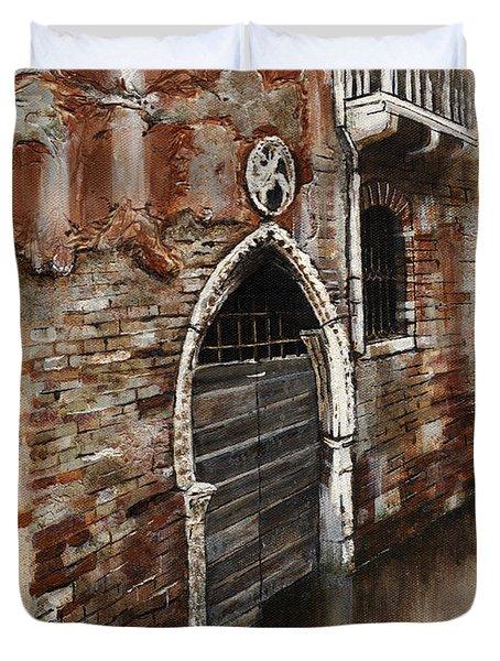 Duvet Cover featuring the painting Venetian Door 03 Elena Yakubovich by Elena Yakubovich