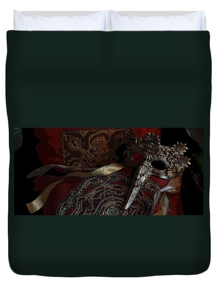 After The Carnival - Venetian Mask Duvet Cover by Yvonne Wright